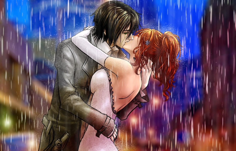 Photo wallpaper girl, rain, kiss, art, pair, guy, bleach, ulquiorra ships, inoue orihime, billiefeng