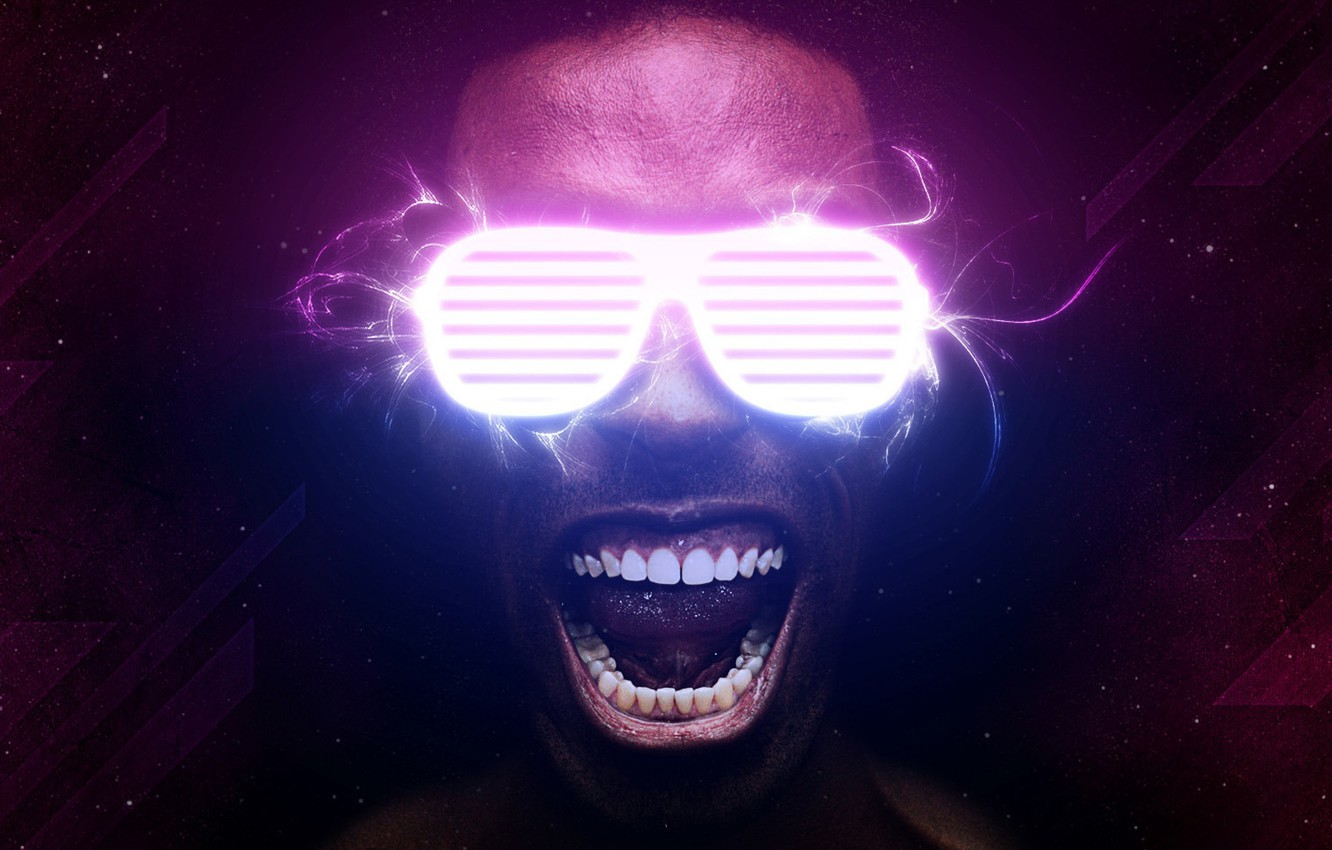 Photo wallpaper Neon, Glasses, Face, Teeth, Man, Neon, Current