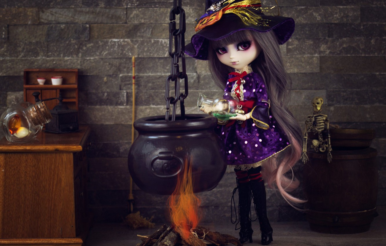 Photo wallpaper fire, toy, doll, witch, potion, boiler