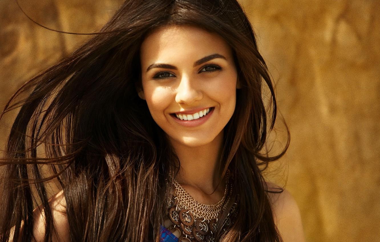 Photo wallpaper girl, smile, celebrity, portrait, actress, brunette, singer, Victoria Justice, celebrity
