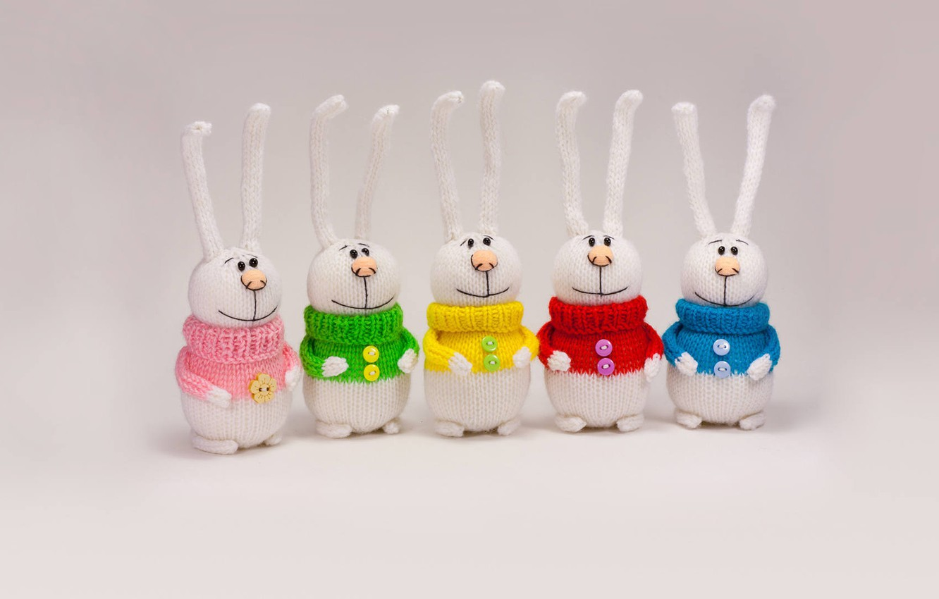 Photo wallpaper toy, rabbits, colorful, knitted