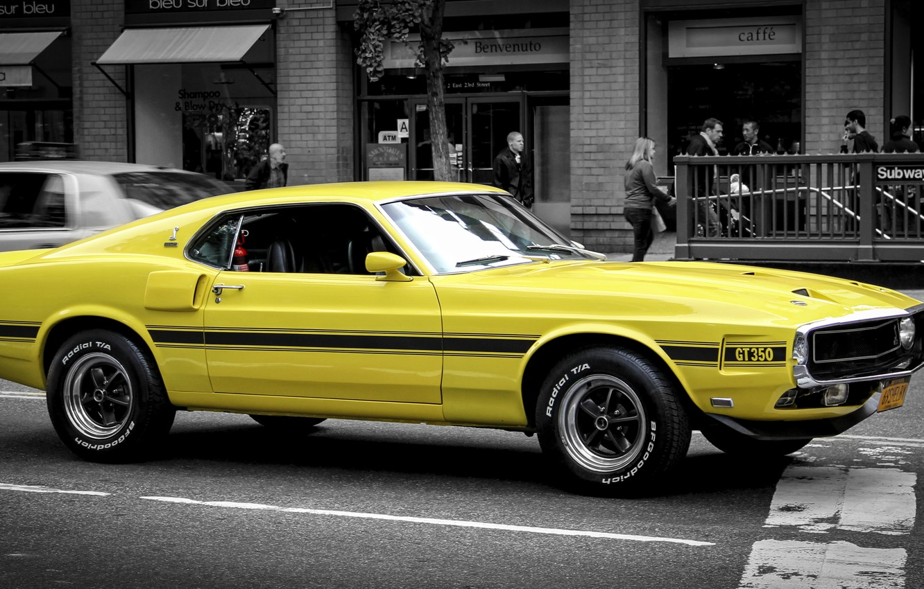 Photo wallpaper yellow, Mustang, Ford, Ford, Mustang, classic, Muscle car, Muscle car