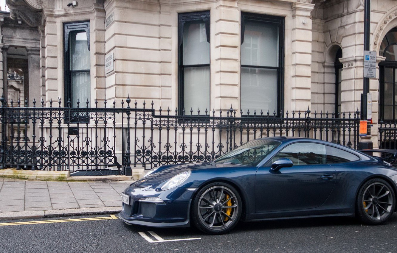 Photo wallpaper Porsche, Blue, GT3, London, Supercar, 991