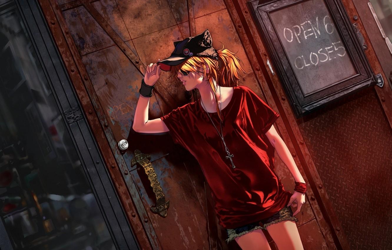 Photo wallpaper girl, wall, street, cross, cap, gesture, neon genesis evangelion, soryu asuka langley, evangelion, art, shikinami …