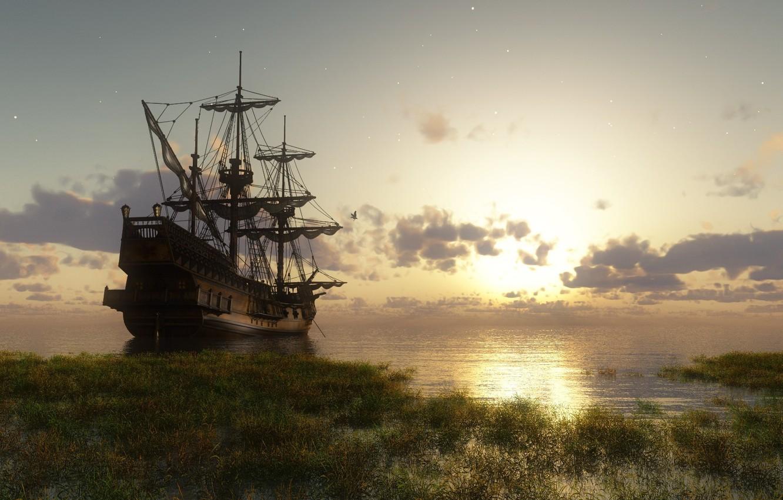 Photo wallpaper water, the sun, ship