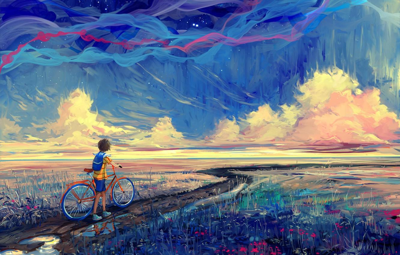 Photo wallpaper road, bike, boy, art, painting
