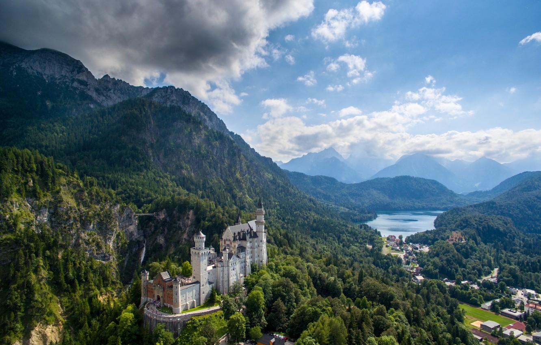 Photo wallpaper mountains, castle, Germany, valley, Bayern, panorama, Germany, Bavaria, Neuschwanstein Castle, Neuschwanstein Castle