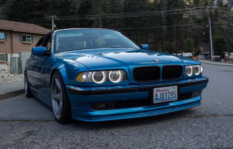 Photo wallpaper BMW, blue, 7series, E38