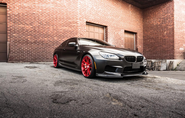 Photo wallpaper black, the building, bmw, BMW, coupe, black, f13, brick