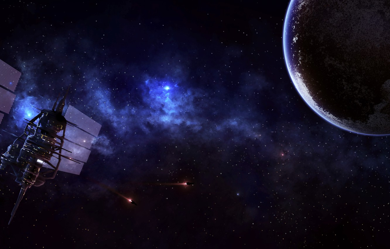 Photo wallpaper planet, stars, space station, spaceships
