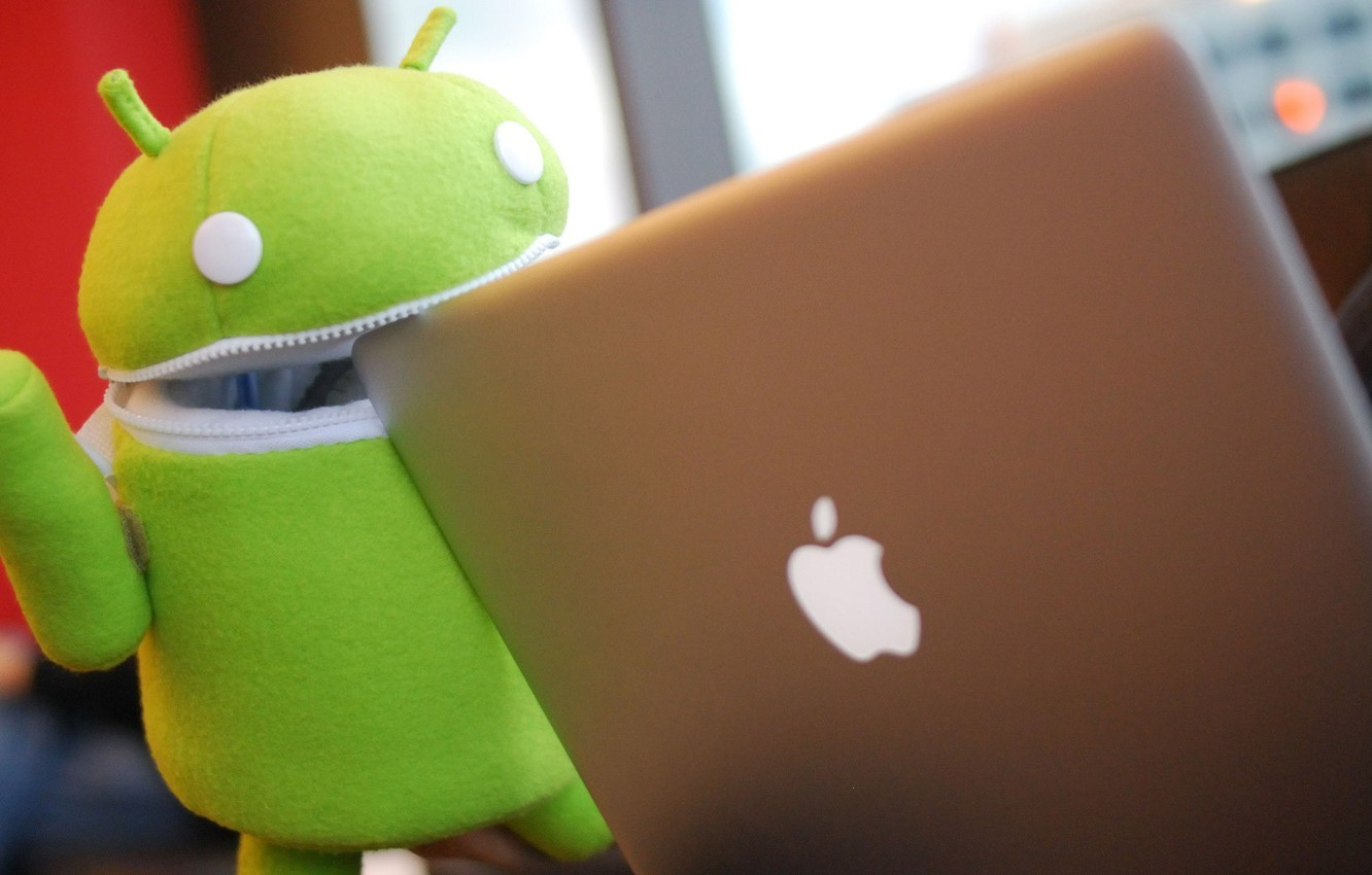 Photo wallpaper green, apple, robot, notebook, air, ANDROID, ios, os android