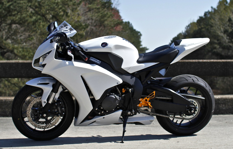Photo wallpaper white, the sky, trees, motorcycle, white, honda, Honda, cbr1000rr