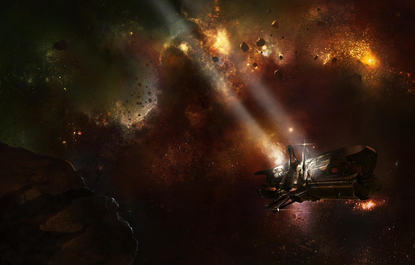 Photo wallpaper space, stars, rays, ship, asteroids