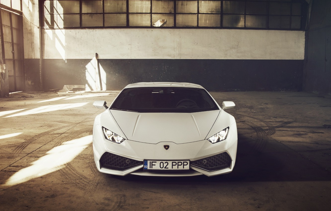Photo wallpaper Lamborghini, Front, White, Supercar, 2014, Huracan, LP610-4
