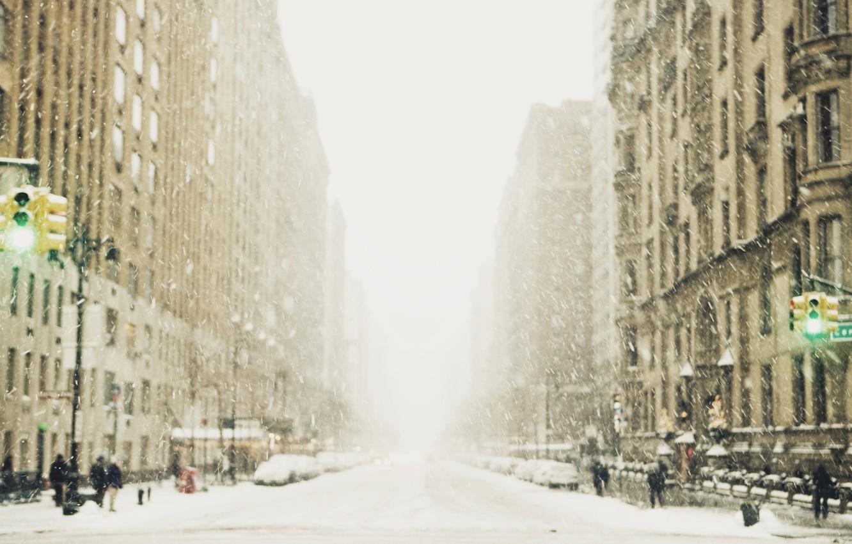 Photo wallpaper winter, snow, the city, street, traffic light, megapolis