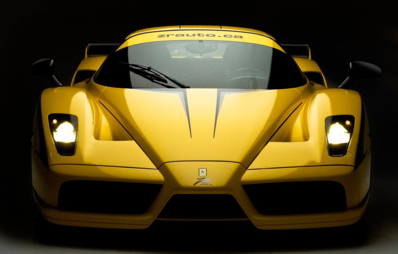 Photo wallpaper yellow, lights, Ferrari, Evolution, Enzo