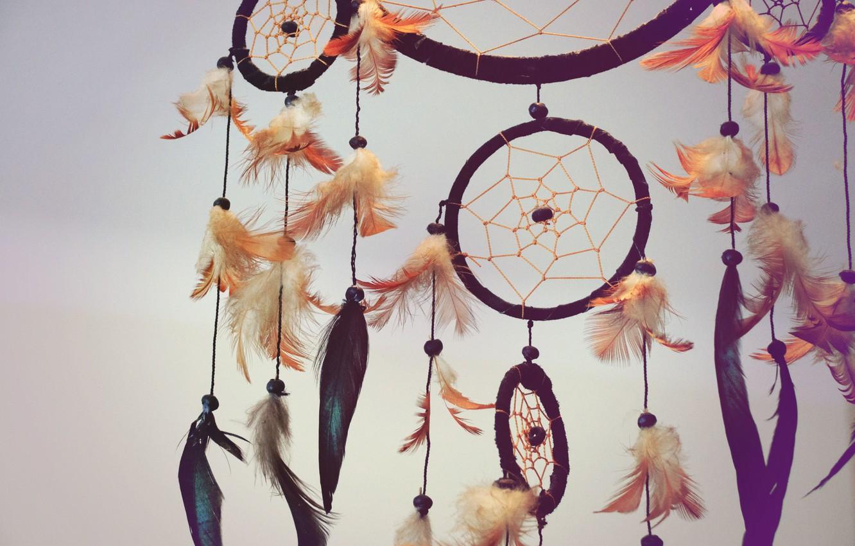 Photo wallpaper feathers, amulet, Dreamcatcher