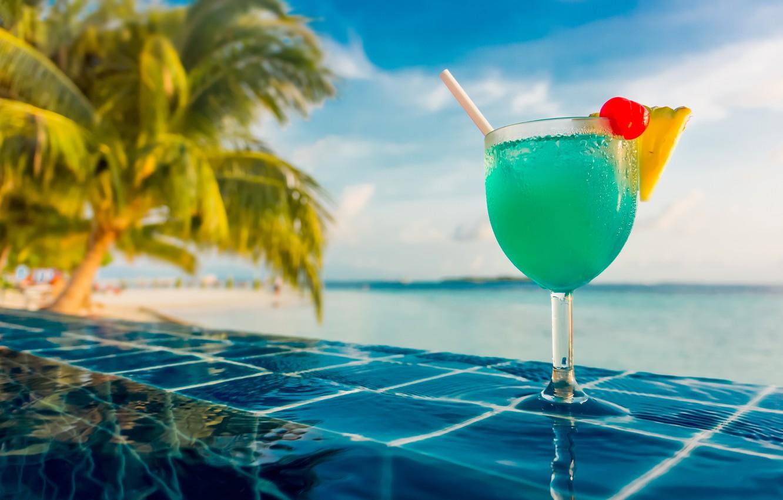 Photo wallpaper water, joy, vigor, tropics, berries, food, positive, pool, blur, cocktail, The Maldives, pineapple, nature, cherry, …