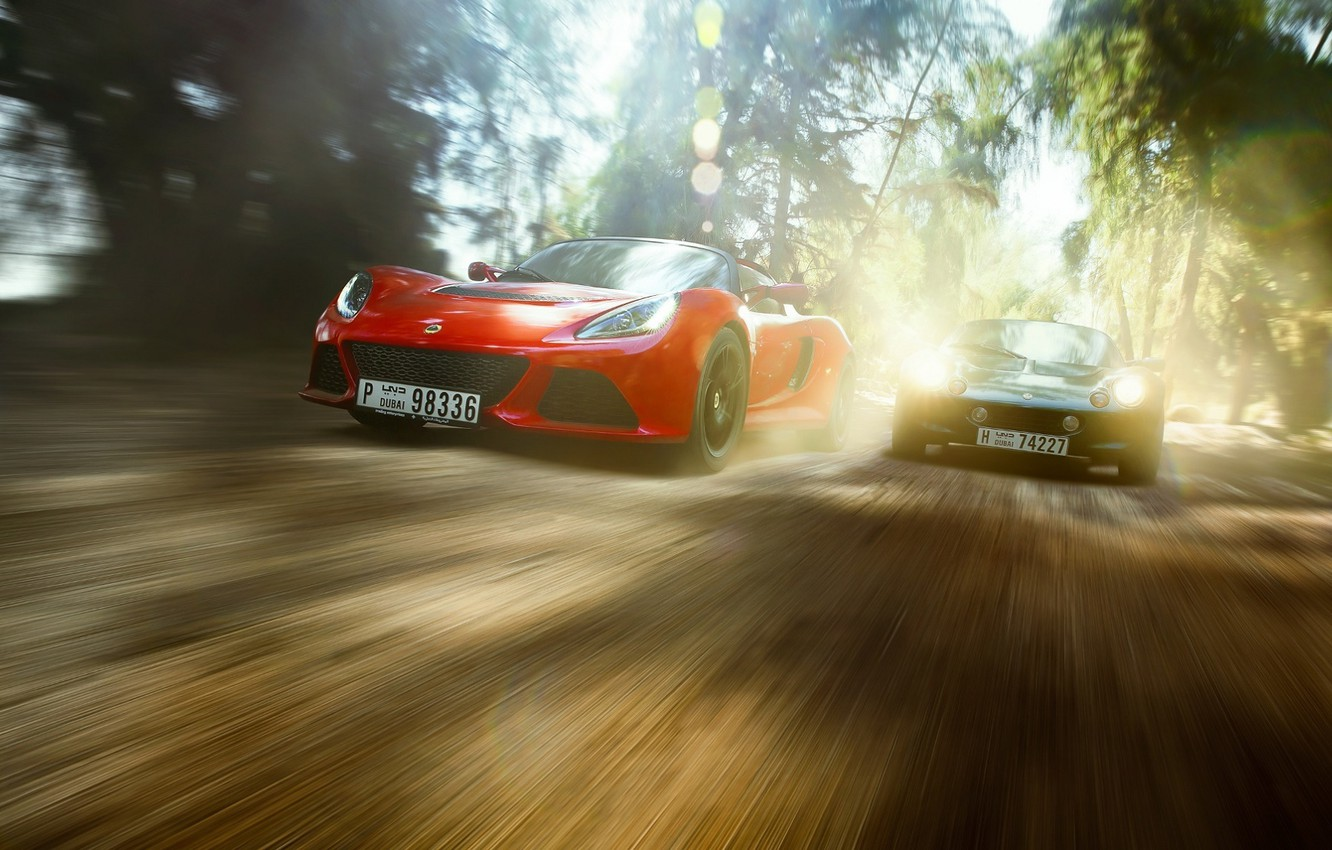 Photo wallpaper Red, Race, Cars, Dubai, Green, Speed, Lotus Exige, Lotus Elise 111a in the