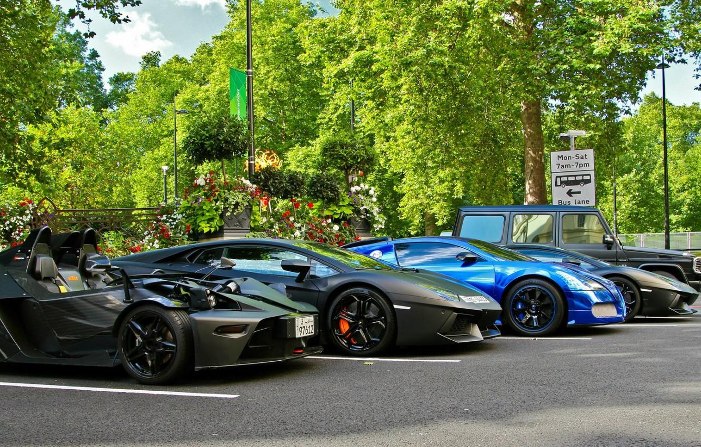 Photo wallpaper supercar, sports car, Gaelic, Lamborghini Aventador, Lamborghini LP700-4 Aventador, Bugatti Veyron Centenary, Mercedes-Benz G55 AMG, …