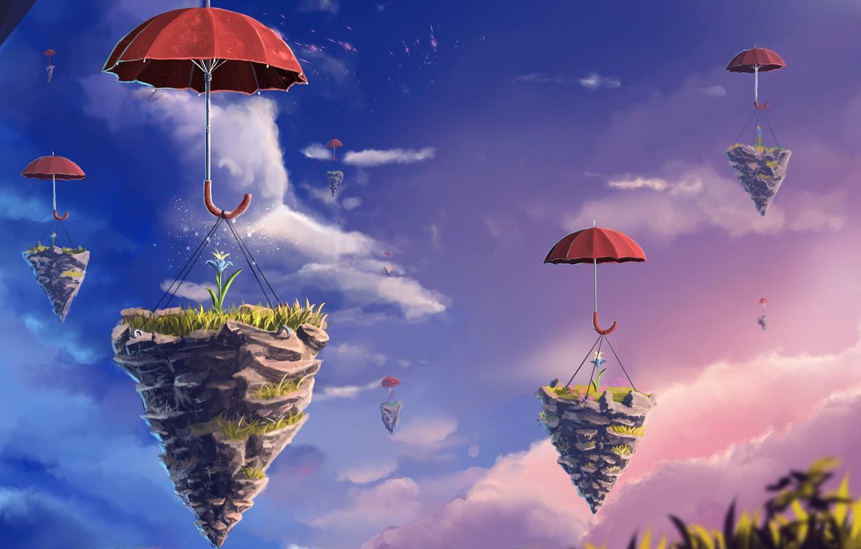 Photo wallpaper flower, the sky, clouds, umbrella