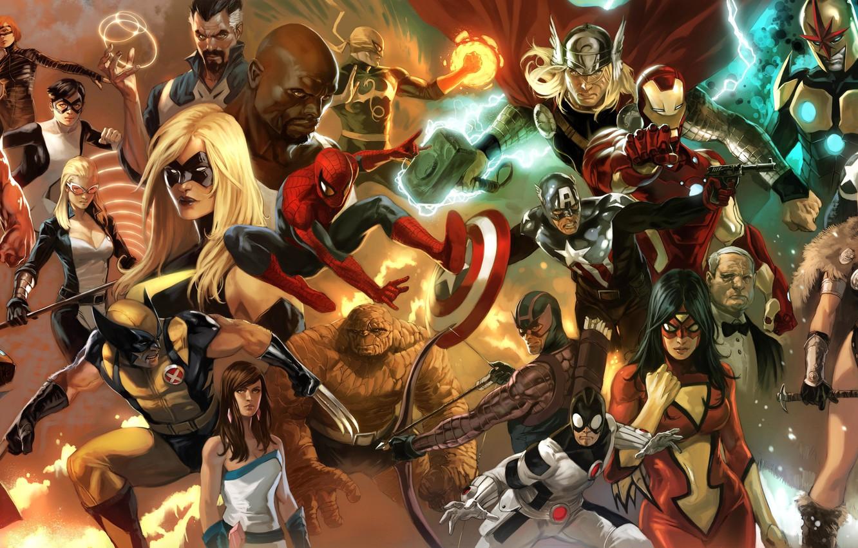Photo wallpaper spider-man, collage, x-men, comics, Superman, iron man, marvel, captain America, spider-man, superheroes, iron man, fantastic …