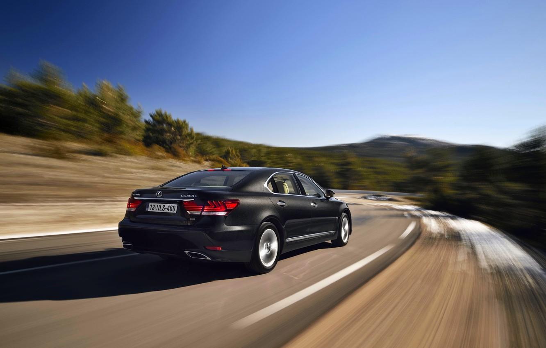 Photo wallpaper Road, Black, Lexus, Machine, Lexus, Sedan, in motion, LS-EU