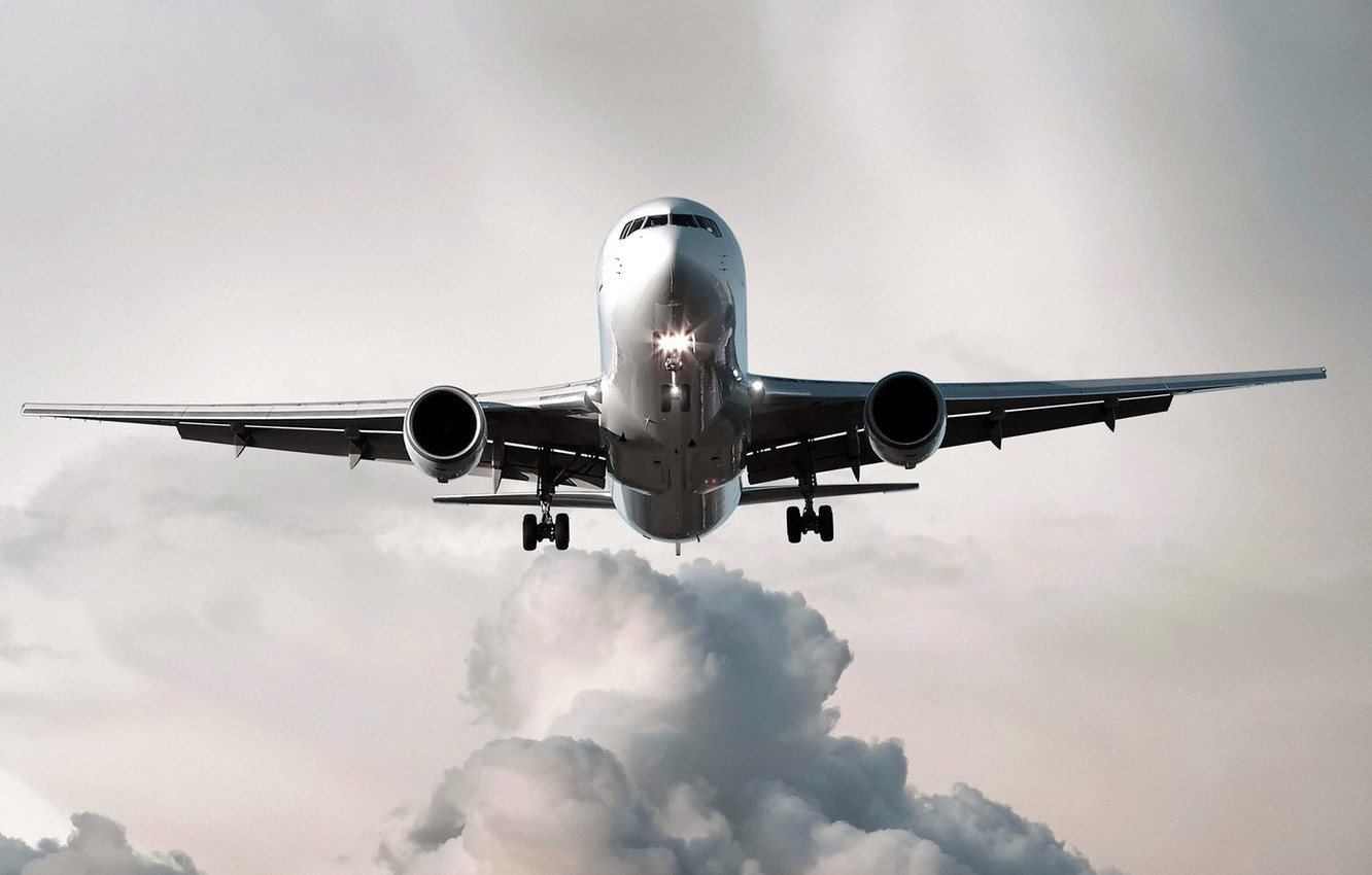 Photo wallpaper clouds, lights, the plane