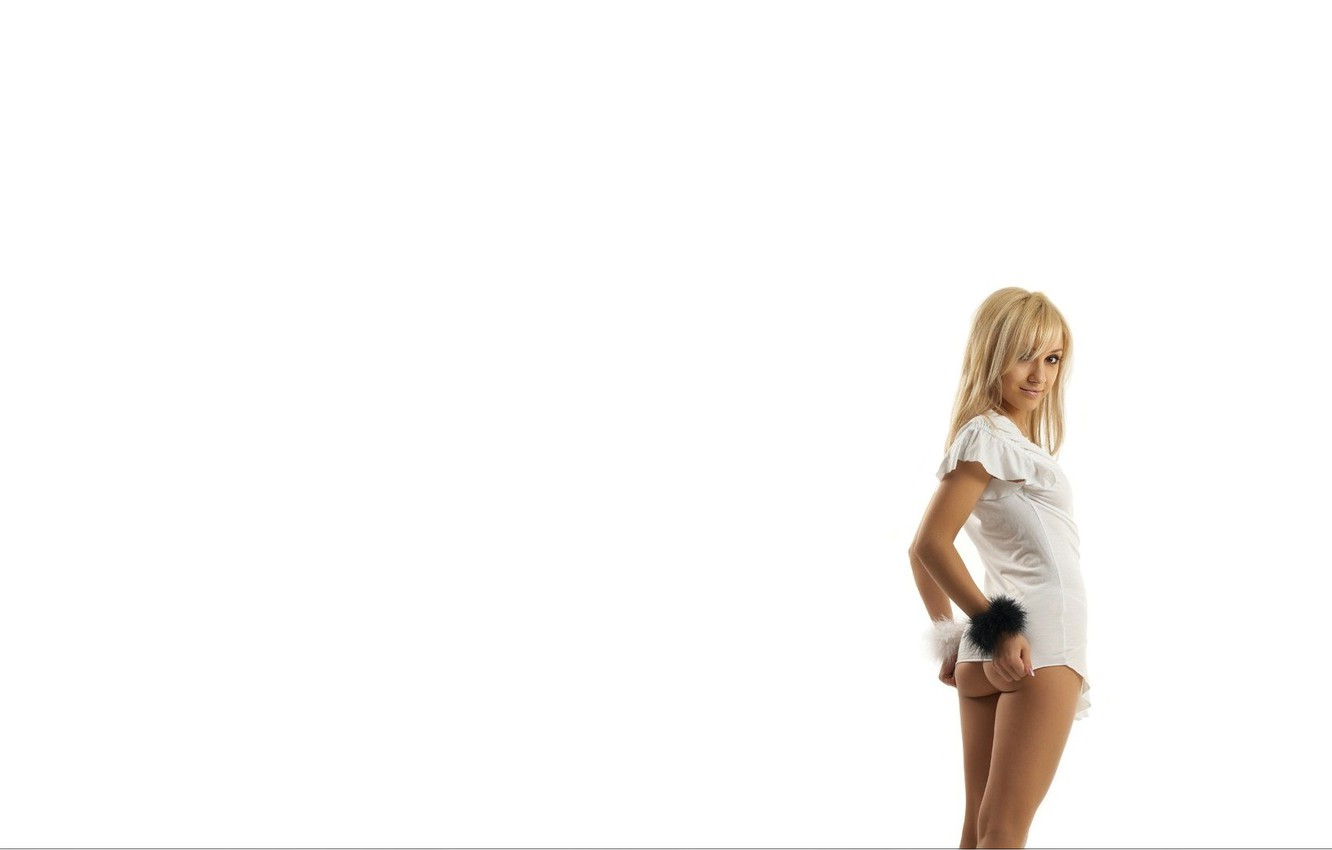 Photo wallpaper ass, look, Girl, blonde, white background
