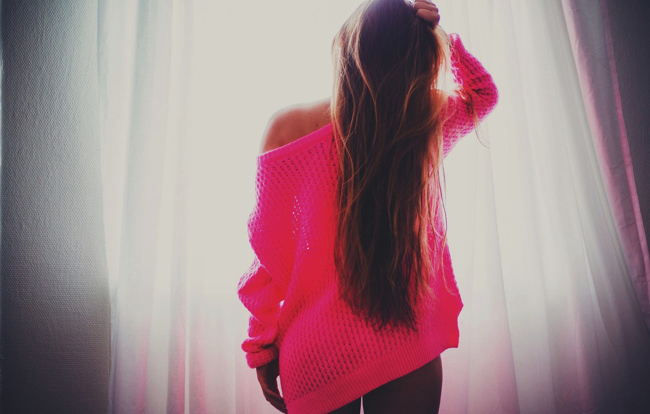 Photo wallpaper girl, light, pink, hair, window, curtains, is, sweater
