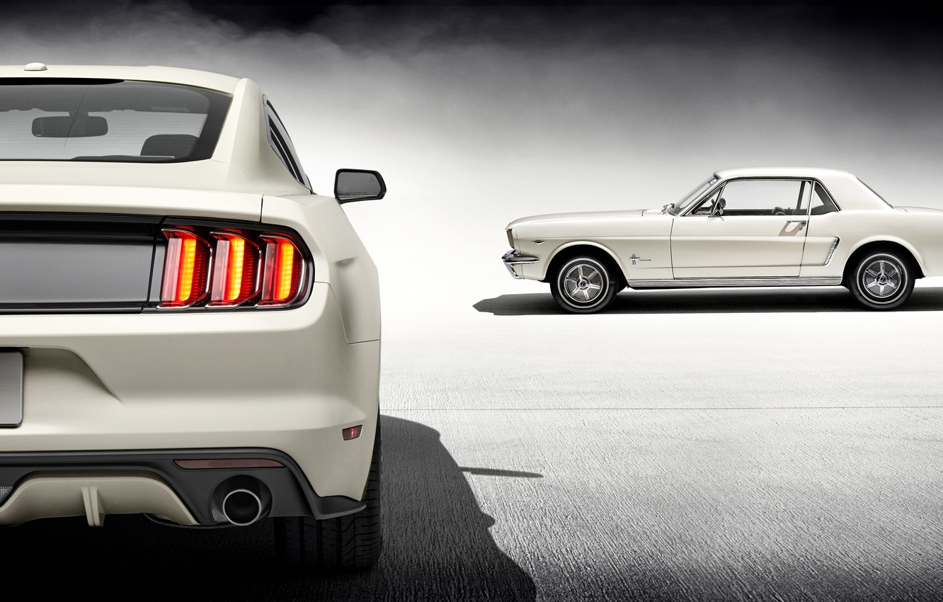 Photo wallpaper Mustang, Ford, 1965, White, 2015, 50 Year Limited Edition