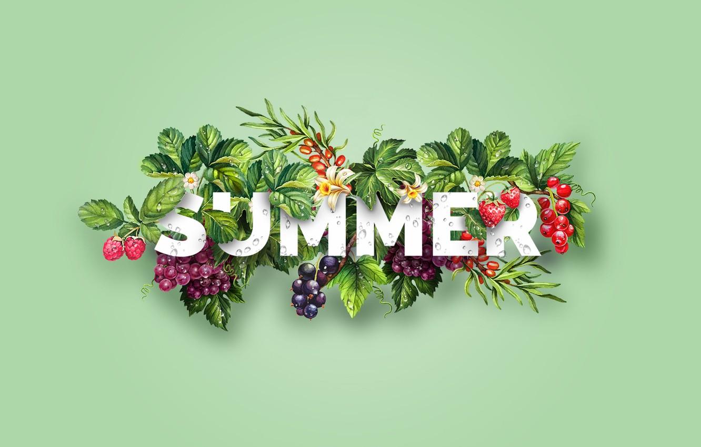 Photo wallpaper summer, berries, raspberry, strawberry, grapes, summer, Design, sea buckthorn, Dipanjan Karmakar