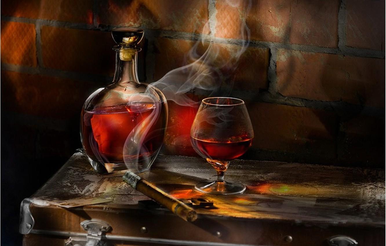 Photo wallpaper glass, cigar, whiskey