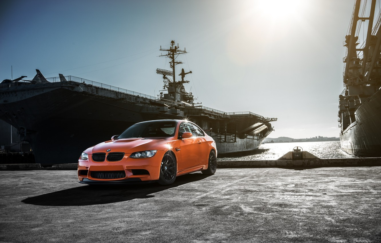 Photo wallpaper BMW, German, Orange, Car, E92, GTS, Battleship, Bimmer