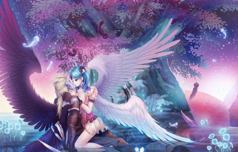 Photo wallpaper water, girl, reflection, tree, anime, art, Wings, guy