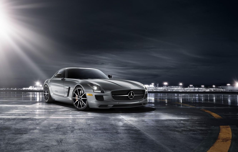 Photo wallpaper car, supercar, Mercedes, amg, mercedes sls, autowalls