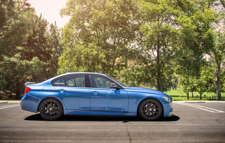 Photo wallpaper BMW, wheels, side, Vorsteiner, blue, 328i, f30