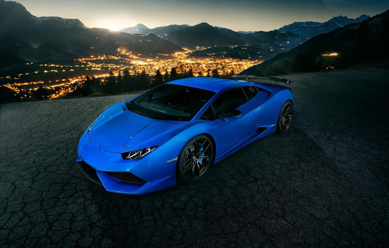 Photo wallpaper lights, Lamborghini, blue, Lamborghini, Novitec Torado, Huracan, hurakan