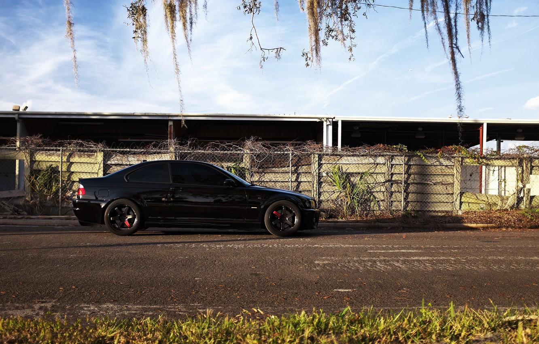 Photo wallpaper grass, black, bmw, BMW, coupe, shadow, profile, drives, black, e46