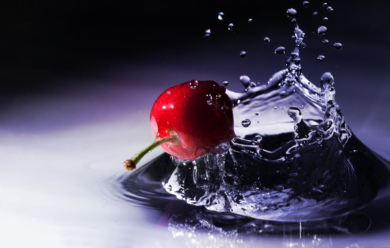 Photo wallpaper water, drops, macro, squirt, cherry, berry, the fruit