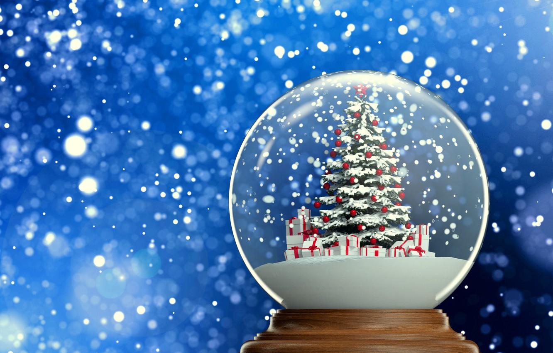 Photo wallpaper background, new year, gifts, tree, herringbone, snow, snow globe, 2015