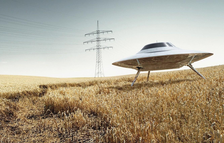 Photo wallpaper field, wire, UFO, 152, Power lines