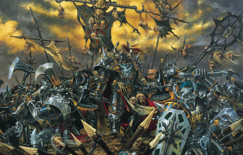 Photo wallpaper death, Chaos, battle, axe, Warhammer, palisade, haosity, Mark of Chaos, shields, Mace