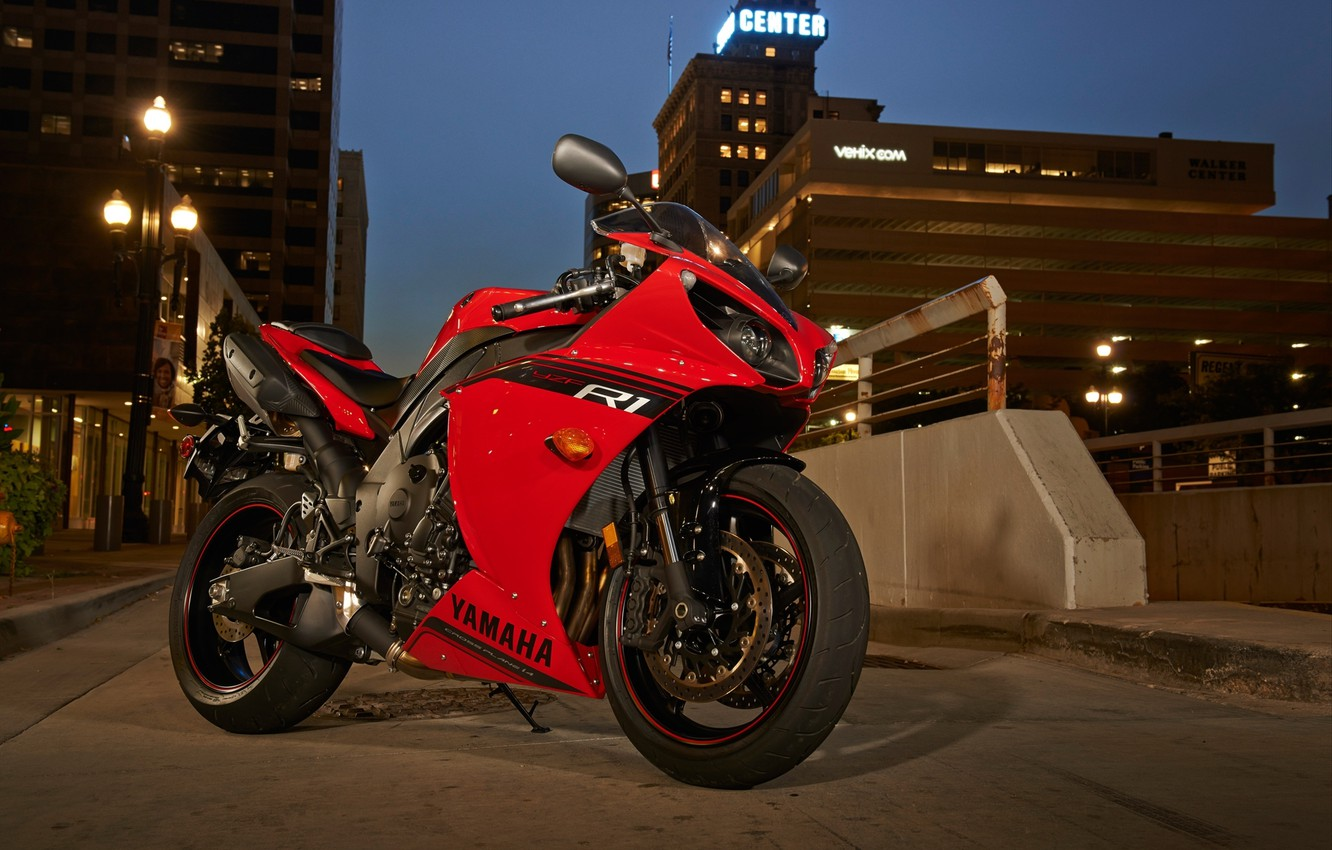 Photo wallpaper road, red, the city, lights, shadow, the evening, motorcycle, red, yamaha, bike, Yamaha, yzf-r1