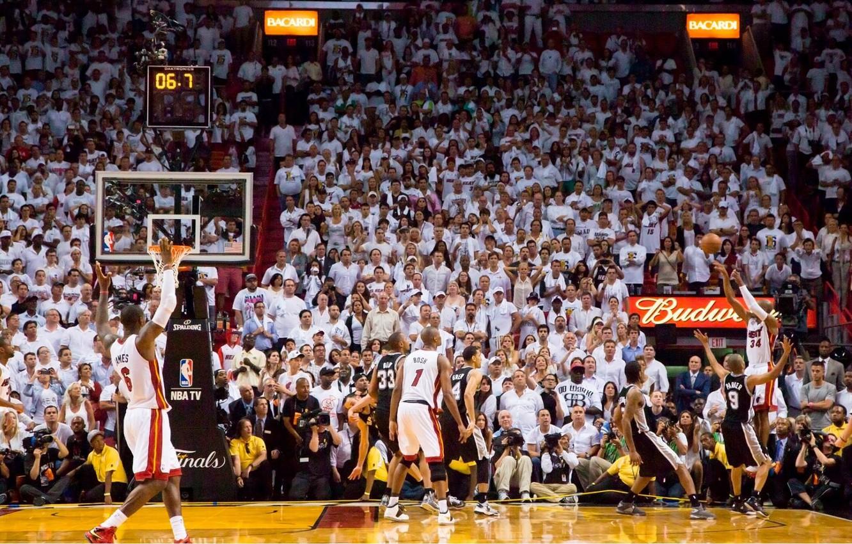 Photo wallpaper Miami, NBA, finals, Basketball, james, Heat, Lebron James, Miami heat, Lebron, Ray Allen, 3 pointer