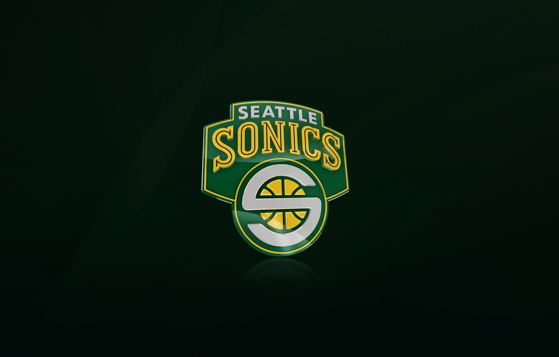 Photo wallpaper Green, Basketball, Background, Seattle, Logo, NBA, Supersonic, Seattle Supersonic