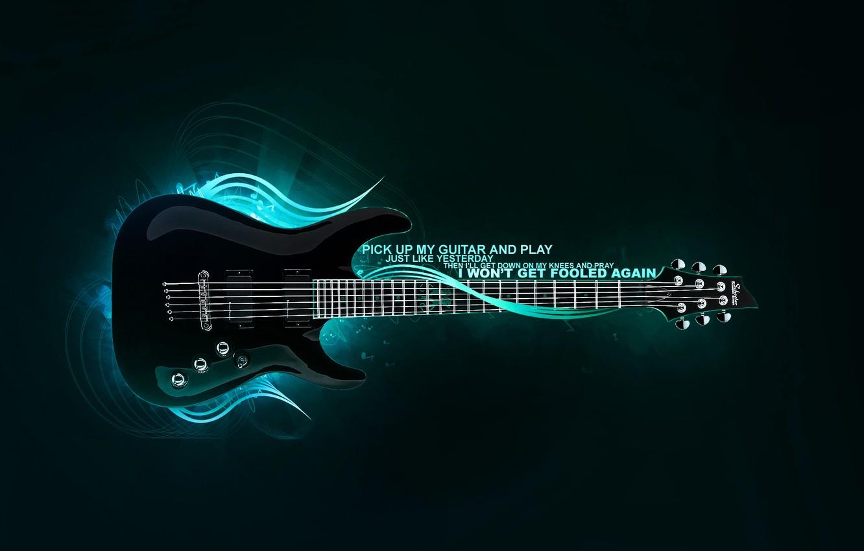 Photo wallpaper blue, guitar, treatment