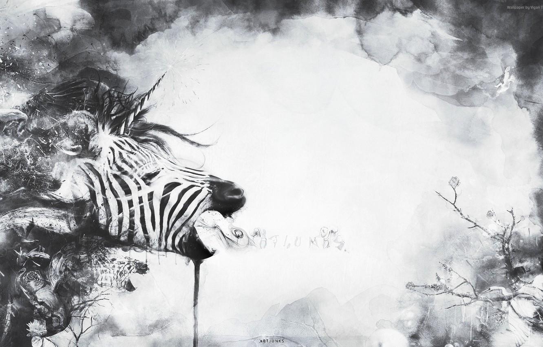 Photo wallpaper abstraction, plant, Zebra, unicorn