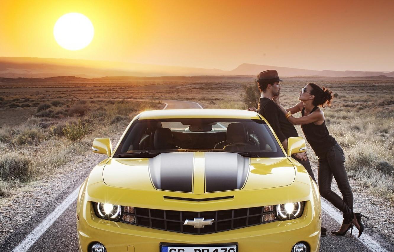 Photo wallpaper road, car, auto, the sky, girl, the sun, Chevrolet, Machine, guy