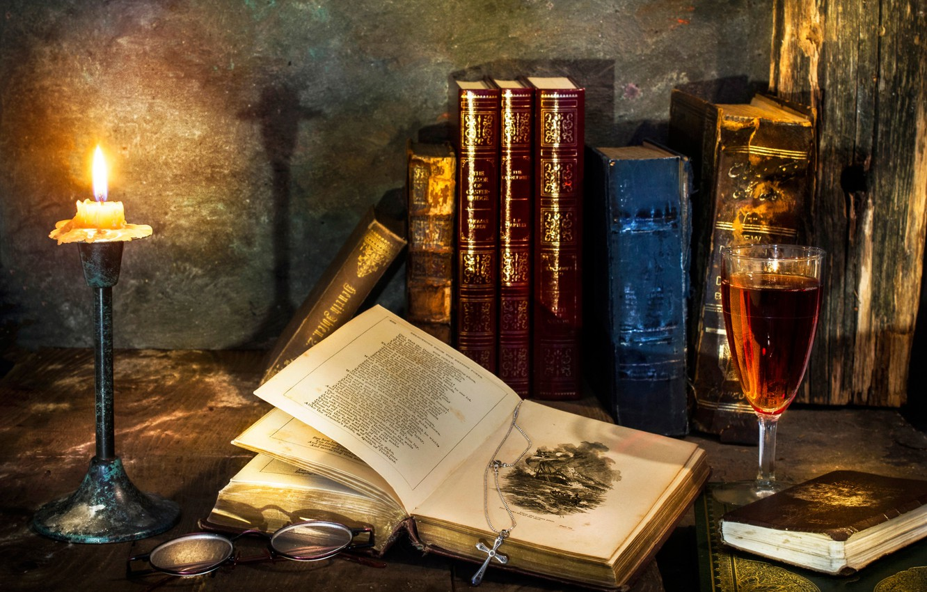 Photo wallpaper wine, books, candle, cross, glass, A flicker of hope